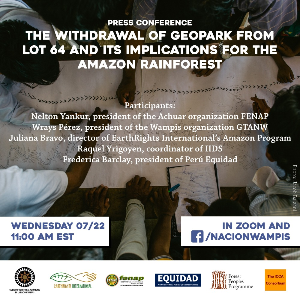 PRESS BRIEFING: THE WITHDRAWAL OF GEOPARK FROM LOT 64 AND ITS IMPLICATIONS FOR THE AMAZON
